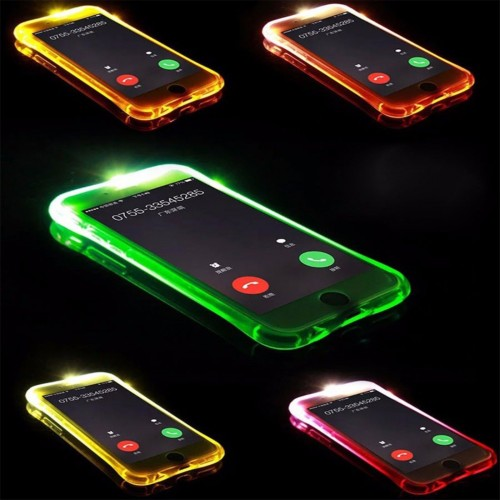 Custodia Cover case luminosa in tpu led flash per Apple IPhone 5 6 7 8 Plus SE X