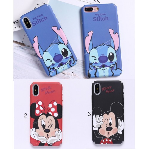 Custodia Cover case plastic minnie michey stitch per Apple IPhone 5 6 7 8 Plus X