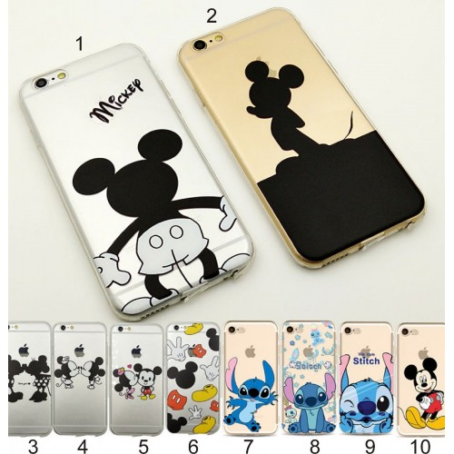 Custodia Cover case silicon minnie stitch mickey per Apple IPhone 5 6 7 8 Plus X