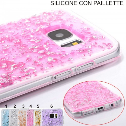 Custodia Cover case silicon paillette per Samsung Galaxy S4 S5 S6 S7 & Edge note