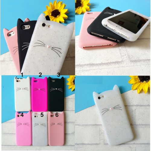 Custodia Cover case silicone 3D gatto orecchie per Apple IPhone 5 6 7 8 Plus X
