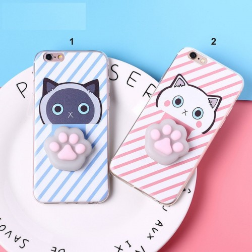 Custodia Cover case silicone 3D gatto squishy per Apple IPhone 6 7 8 Plus X