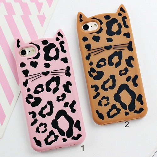Custodia Cover case silicone 3D leopard orecchie per Apple IPhone 6 7 8 Plus X