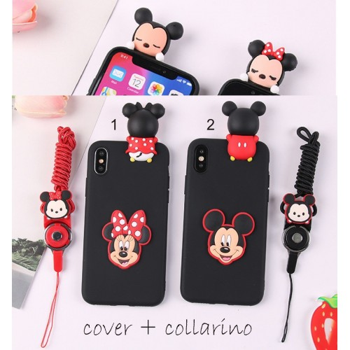 Custodia Cover case silicone 3D minnie mickey per Apple IPhone 5 6 7 8 Plus X