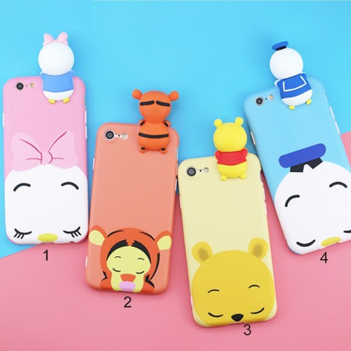 Custodia Cover case silicone 3d daisy pooh tiger per Apple IPhone 6 7 8 Plus X