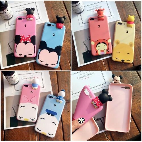 Custodia Cover case silicone 3d minnie ickey tiger per Apple IPhone 6 7 8 Plus