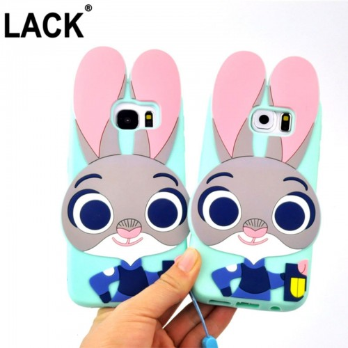 Custodia Cover case silicone coniglio rabbit per Samsung Galaxy S5 S6 S7 & Edge