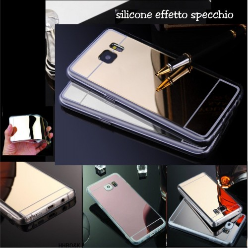 Custodia Cover case silicone effetto specchio per Samsung Galaxy S7 Edge + film