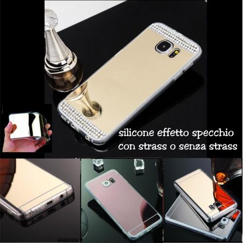 Custodia Cover case silicone effetto specchio strass per Samsung Galaxy S7 G930