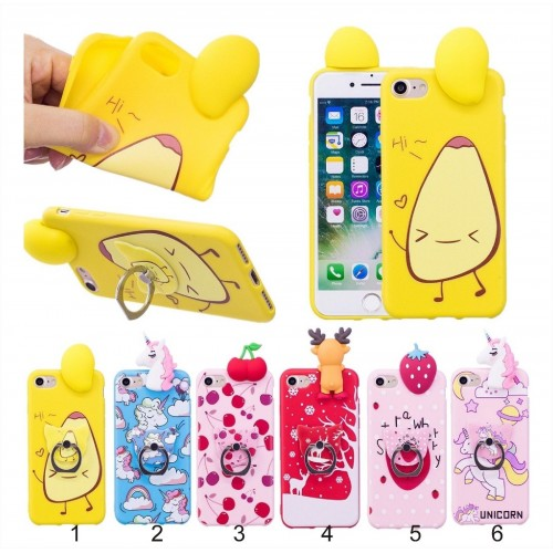 Custodia Cover case silicone + gancio unicorno per Apple IPhone 5 6 7 8 Plus X