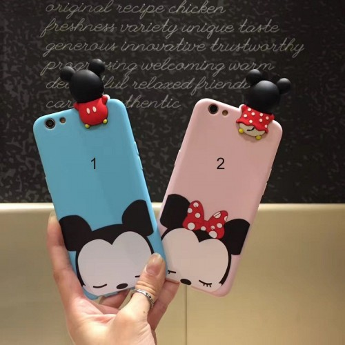 Custodia Cover case silicone minnie michey cartoni per Apple IPhone 6 7 8 Plus X