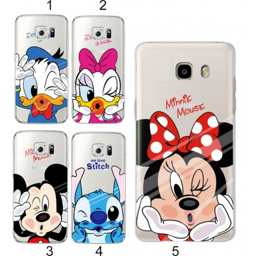 Custodia Cover case silicone stitch minnie mickey fumetti  per Samsung Galaxy S6