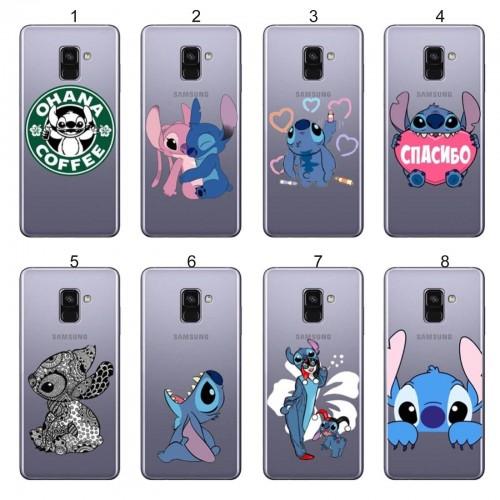 Custodia Cover case silicone stitch per Samsung Galaxy A3 A5 A6 A7 A8 Plus 2018