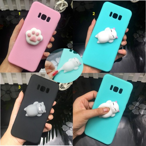 Custodia Cover case squishy silicone 3D per Samsung Galaxy A5 A6 A7 A8 Plus 2018