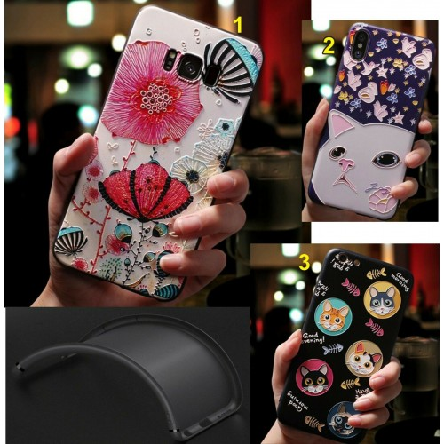 Custodia Cover in silicone antiurto a rilievo cat per Samsung S10 S10E S10 Plus