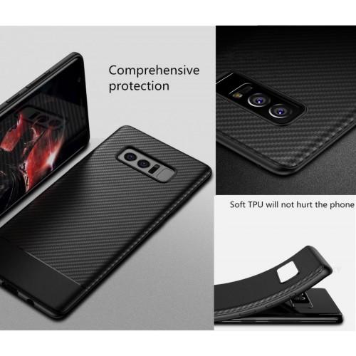Custodia Cover in silicone e fibra di carbonio per Samsung Galaxy J4 J6 J8 2018