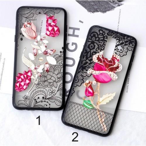 Custodia Cover in silicone fiori fashion per Samsung Galaxy A6 A7 A8 Plus 2018