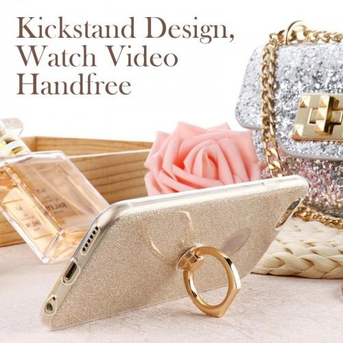 Custodia Cover in silicone glitter con anello per HTC U11 U12 Desire 10 12 play