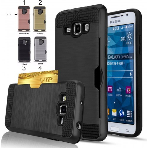 Custodia Cover porta card hybrid per Samsung Galaxy S4 S5 S6 S7 edge S8 S9 Plus