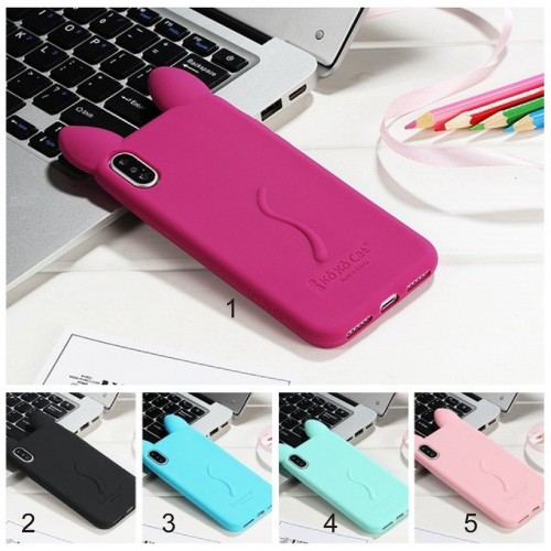 Custodia Cover silicone 3D orecchie gatto  per Apple IPhone 4 5 SE 6 7 8 Plus X