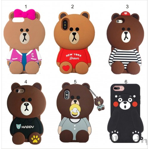 Custodia Cover silicone 3D orso teddy cartoon per Apple IPhone 6 7 8 Plus X XS