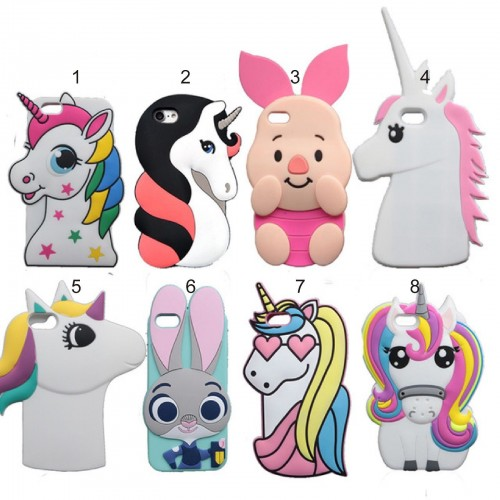 Custodia Cover silicone 3D unicorno pig per Apple IPhone 4 5 SE 6 7 8 Plus X