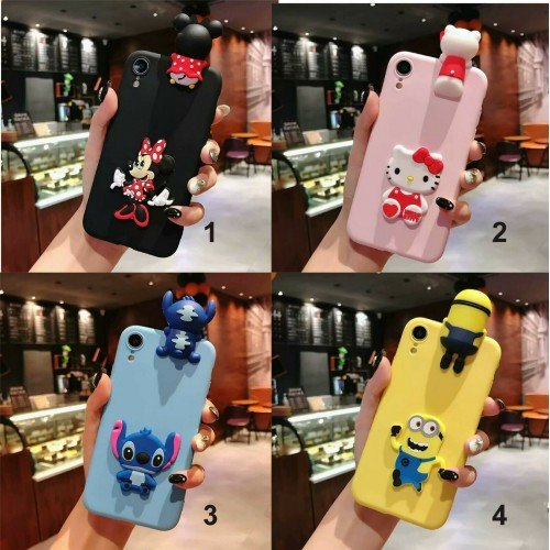 Custodia Cover silicone 3d stitch kitty minnie cartoni per Samsung S10 S10E Plus