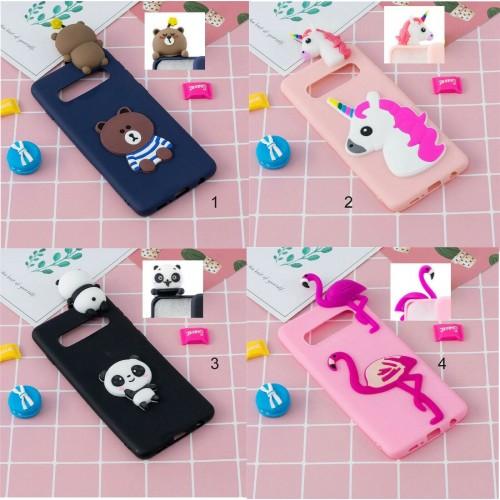 Custodia Cover silicone 3d unicorno teddy panda per Samsung S8 S9 S10 S10E Plus
