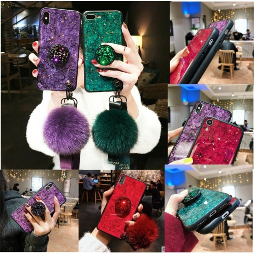 Custodia Cover silicone bling pon pon per Samsung Galaxy A10 A30 A40 A50 A70 A90