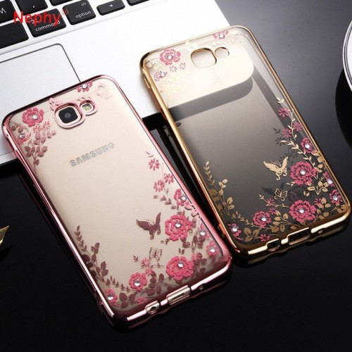 Custodia Cover silicone bling strass cromata per Samsung Galaxy note 3 4 5 8 9