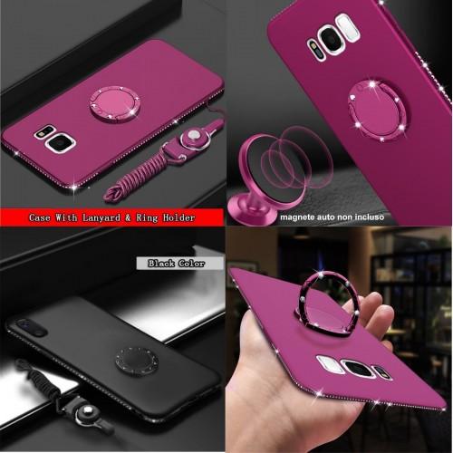 Custodia Cover silicone con strass anello magnetico per Samsung Galaxy note 8 9