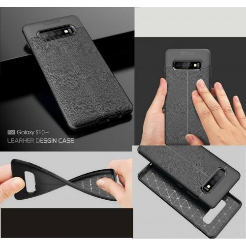 Custodia Cover silicone effetto pelle per Samsung S6 S7 edge S8 S9 S10 S10E Plus