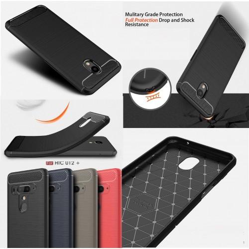 Custodia Cover silicone fibra di carbonio per HTC U11 eyes U12 life 10 Desire X2