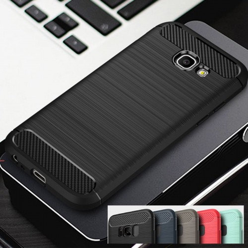 Custodia Cover silicone fibra di carbonio per Samsung Galaxy S6 S7 edge S8 Plus