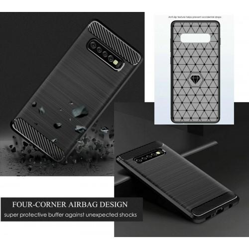 Custodia Cover silicone fibra di carbonio per Samsung S6 S7 S8 S9 S10 S10E Plus