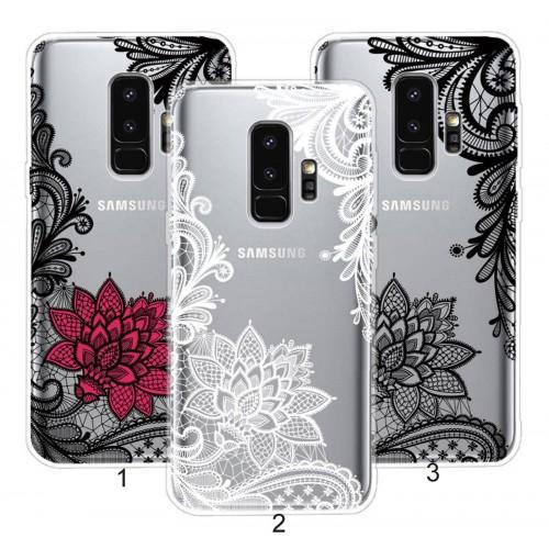 Custodia Cover silicone fiori mandala per Samsung Galaxy S6 S7 edge S8 S9 Plus