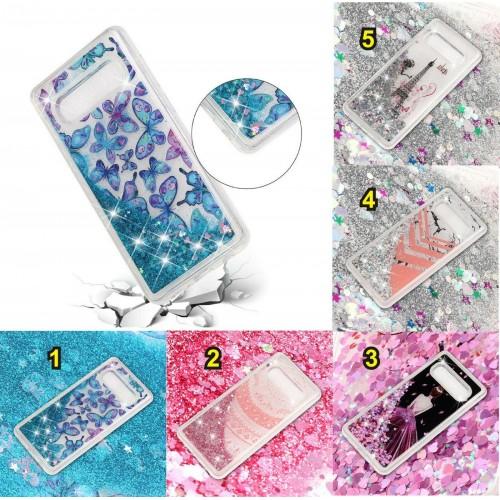 Custodia Cover silicone liquido glitterato luccicante per Samsung S10 S10E Plus