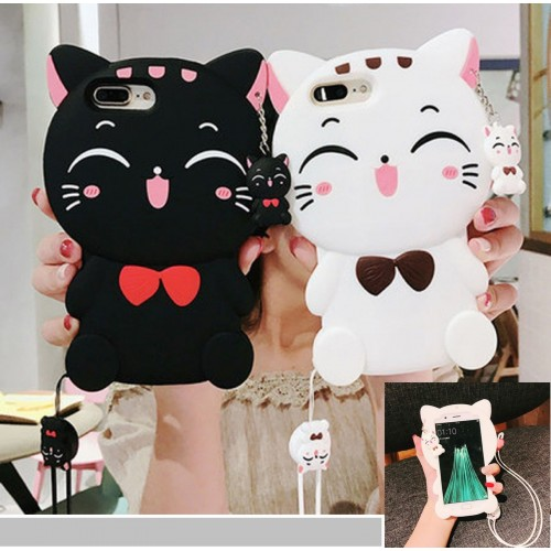 Custodia Cover silicone morbido kitty gatto 3D per Samsung Galaxy note 3 4 5 8