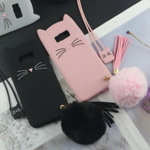 Custodia Cover silicone orecchie gatto pon pon per Samsung S8 S9 S10 S10E Plus