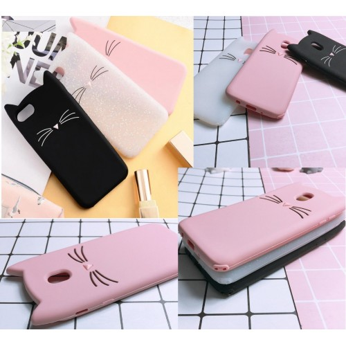 Custodia Cover silicone orecchie kitty gatto per Samsung Galaxy note 2 3 4 5 8