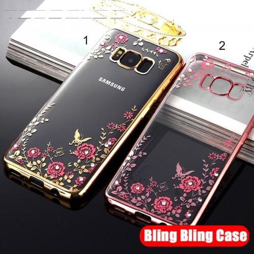 Custodia Cover silicone strass per Samsung Galaxy S8 S9 A3 A5 A6 A7 A8 Plus 2018