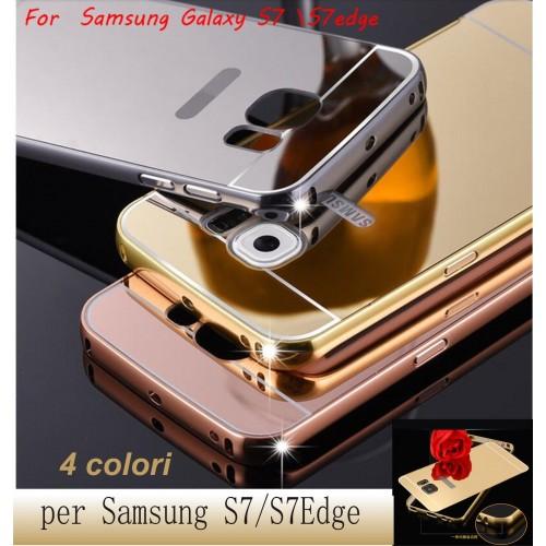 Custodia Cover telaio alluminio/acrylic mirror per Samsung Galaxy S7 Edge + film