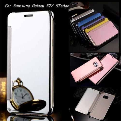 Custodia Flip Cover case Plastic mirror per Samsung Galaxy S7 & Edge + pellicola