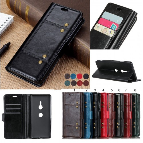 Custodia Flip cover in pelle elegante fashion con slot card per sony Xperia XZ3