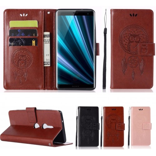 Custodia Flip cover in pelle elegante fashion gufo slot card per sony Xperia XZ3