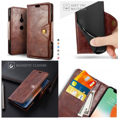 Custodia Flip cover pelle elegant fashion magnetic slot card per sony Xperia XZ3