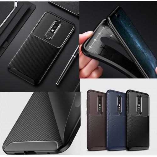 Custodia cover antiurto per Nokia 2 3 5 6 X5 X6 2018 silicone fibra di carbonio