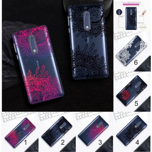 Custodia cover case per Nokia 2 3 5 6 8 silicone parabordi fiori hennè mandala