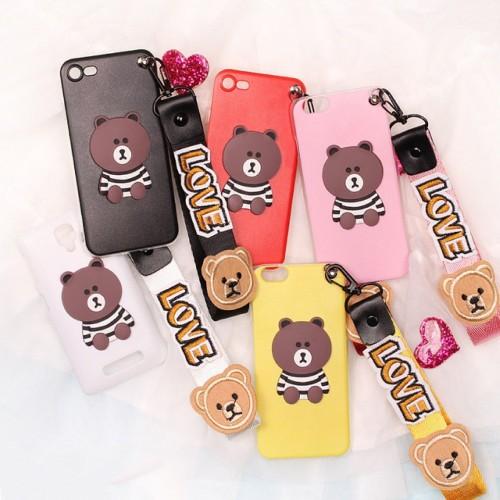 Custodia cover per Nokia 1 2 3 5 6 7 8 9 X5 X6 silicone orso teddy con cordino