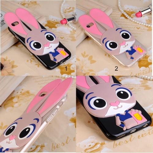 Custodia cover per Nokia 2 3 5 6 7 8 9 X5 X6 2018 silicone 3D orecchie coniglio